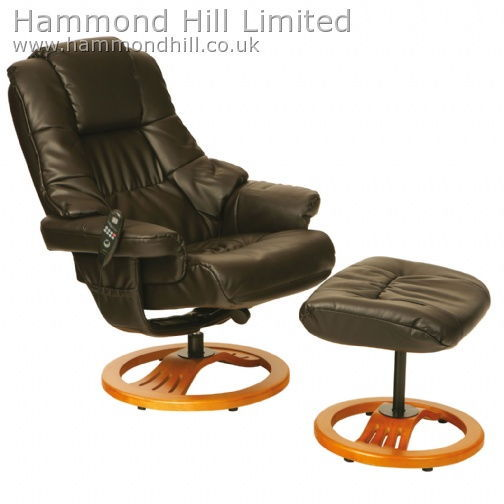 Relaxateeze Eros swivel Massage recliner & footstool